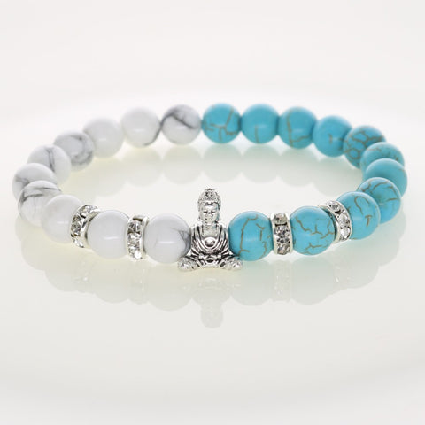 Lucky Buddha Bracelets made with Howlite Beads