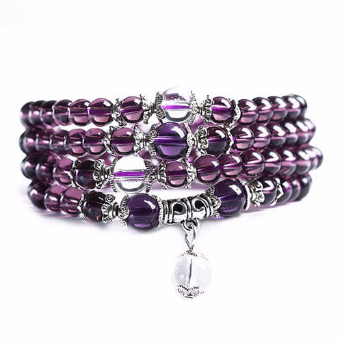 Amethyst Bead Mala Bracelet/Necklace