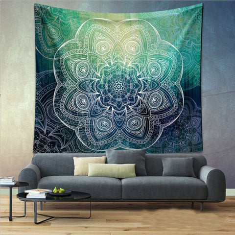 Indian Mandala Tapestry - Green & Blue