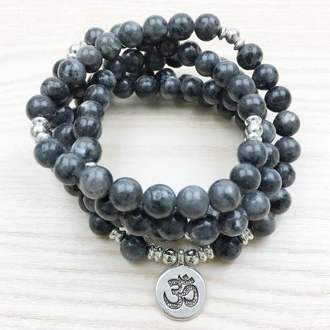 Labradorite Mala Bead Bracelet/Necklace comes with an option of an Om, Buddha or Lotus Flower charm