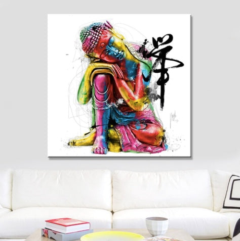 Contemporary Multicolored Buddha Painting