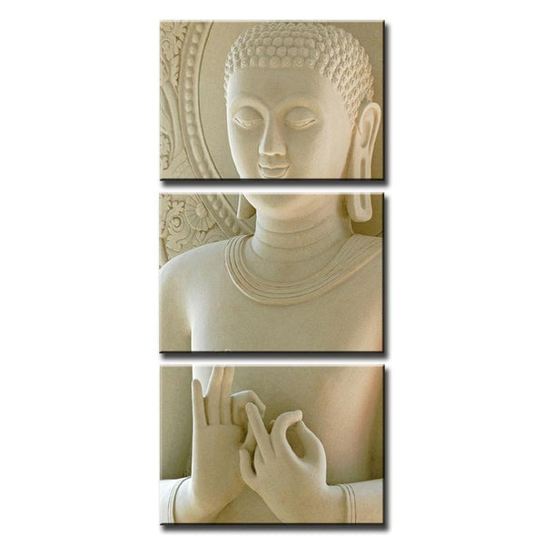 Modern Marble Buddha Framed Canvas Painting