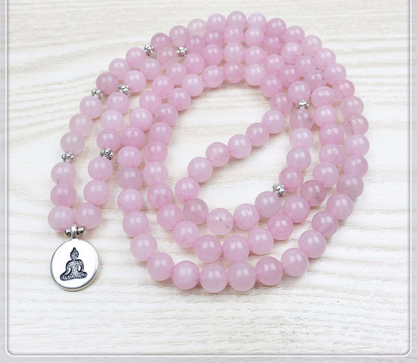 Rose Quartz Mala Bead Bracelet/Necklace