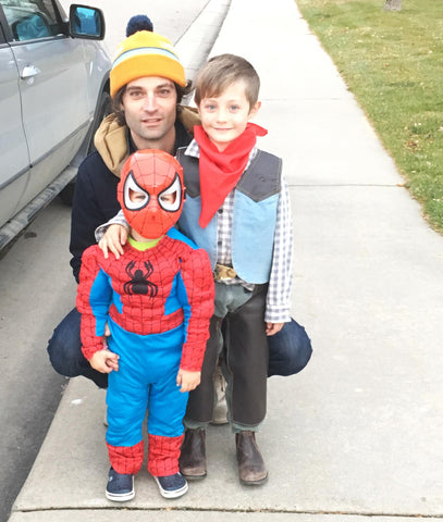 Canoe Club Dad with Halloween Kids, Cowboy and Spiderman