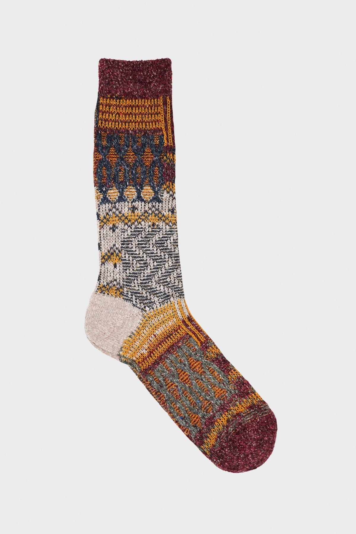 anonymous ism Multi Links Jacquard Crew socks - Wine