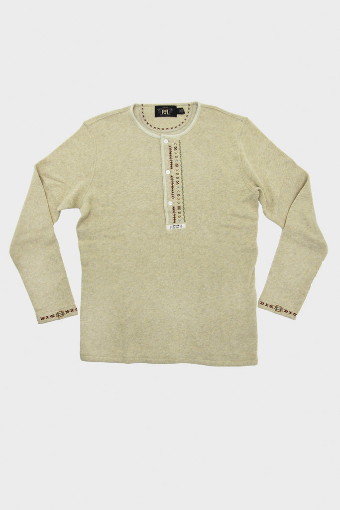 8f5dcaf1 RRL Embroidered Alaska Henley | Field Tan Heather | Double RL FW18 – Canoe  Club