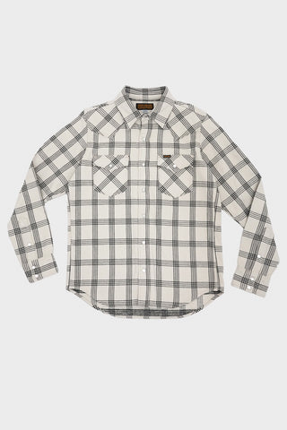 iron heart IHSH-229 Ultra Heavy Flannel Western Shirt Windowpane Check - Grey