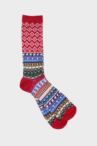 anonymous ism Fairisle Jacquard Crew socks - Red