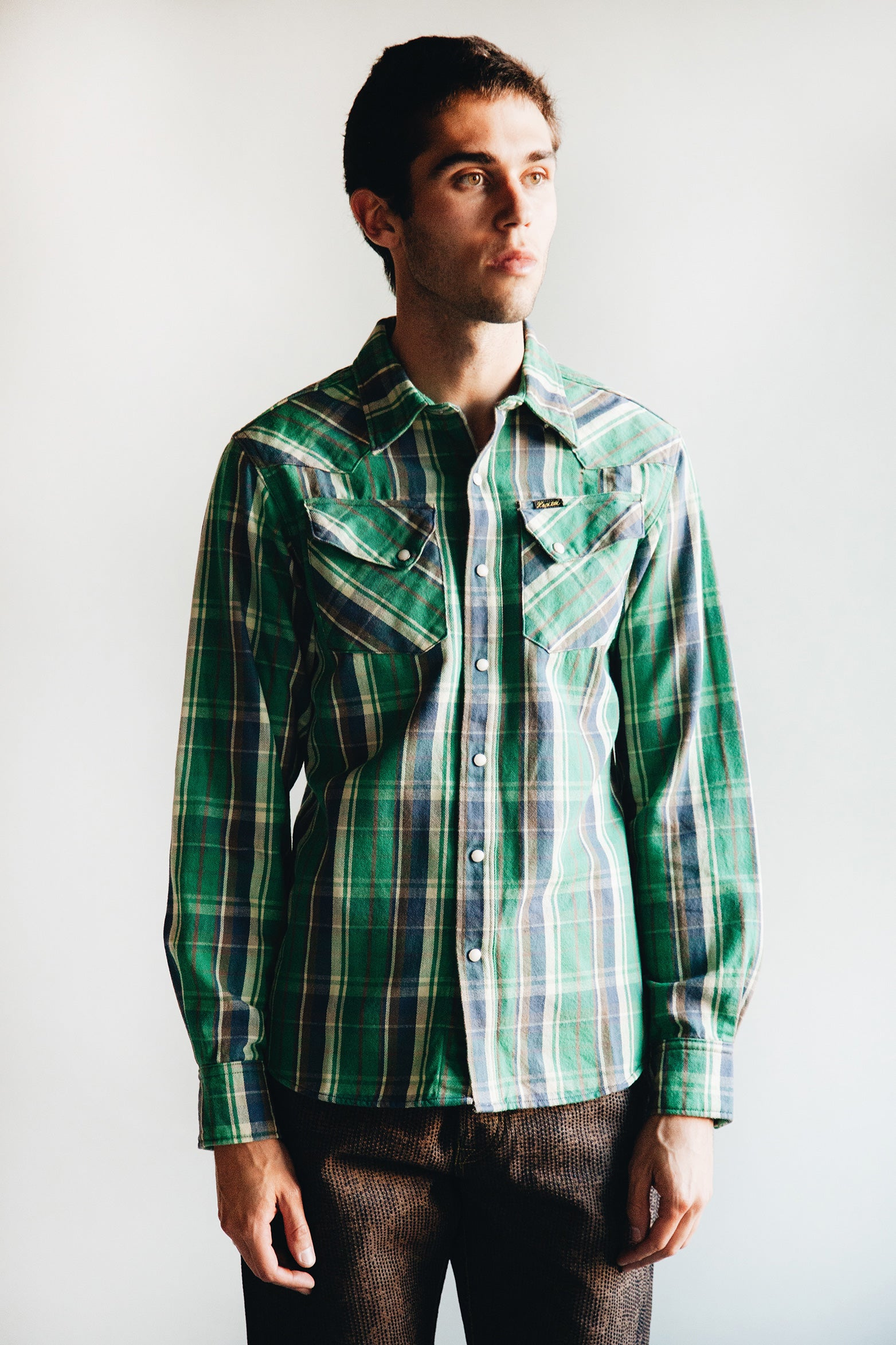 Kapital - Flannel Check Western Shirt - Green - Canoe Club