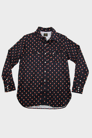 needles clothing japan sateen cowboy shirt in navy full frontal image