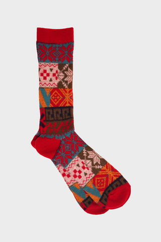 anonymous ism Multi Pattern Jacquard Crew socks - Red