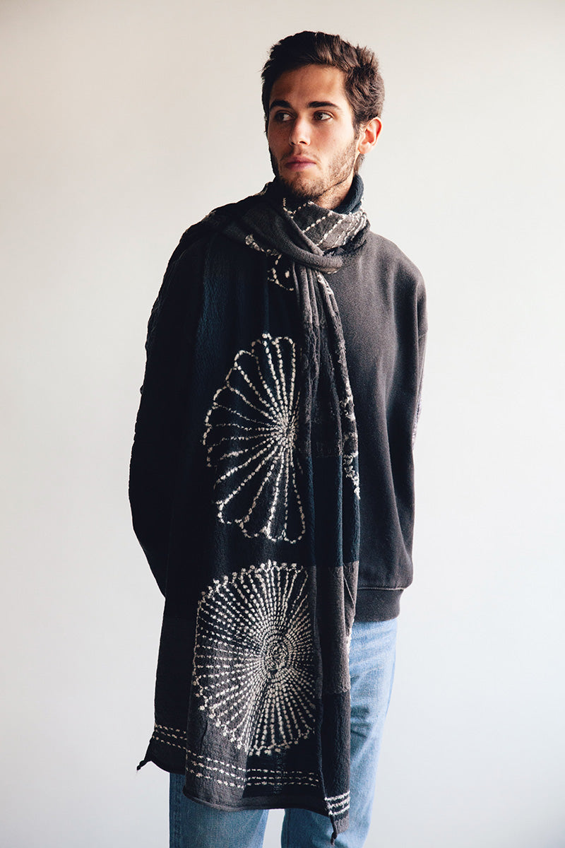 Kapital - Compressed Wool Scarf - FUROSHIKI FIVE RINGS Black - Canoe Club