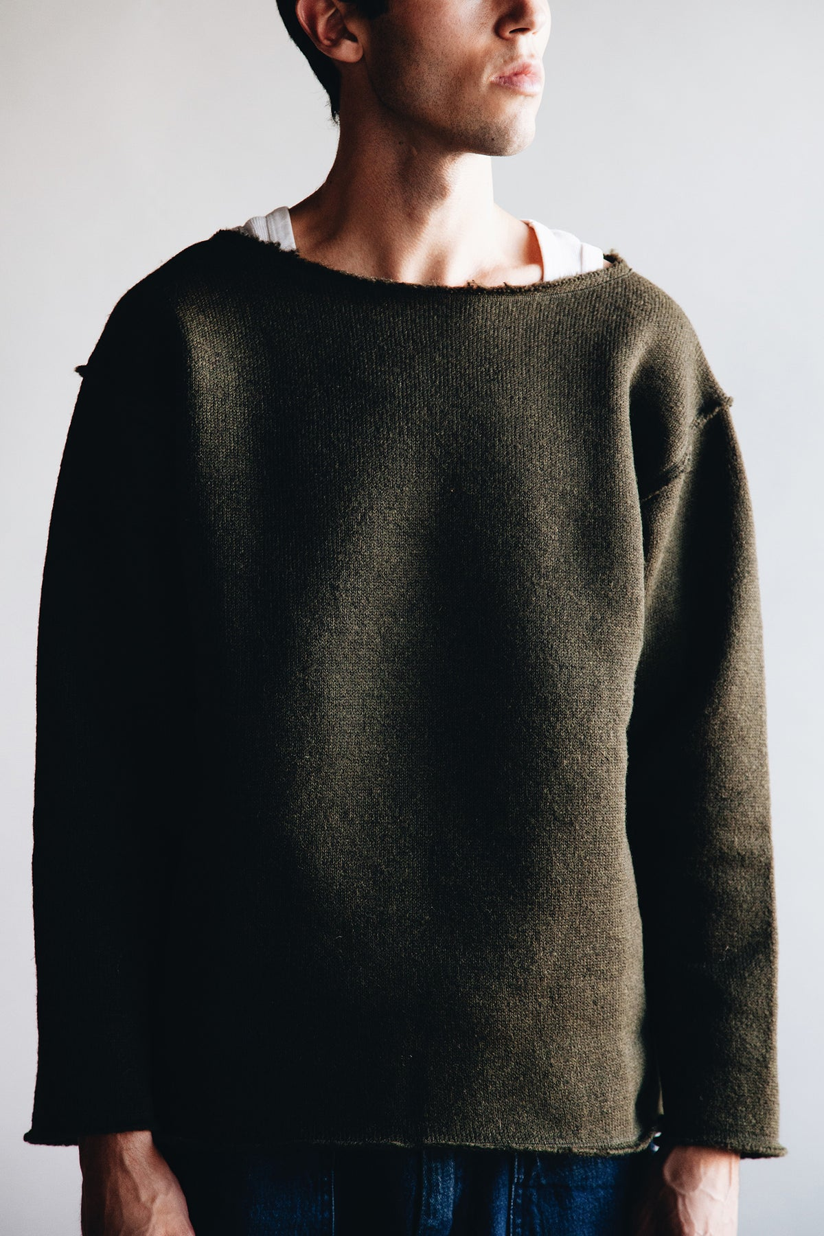 Needles - Long Sleeve Boat Neck Tee - Olive - Canoe Club