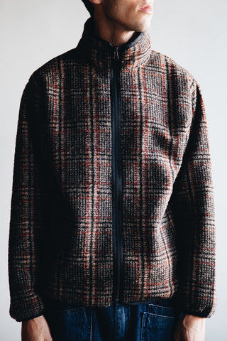 needles clothing japan Plaid Knit Jacquard Piping Jacket - Beige
