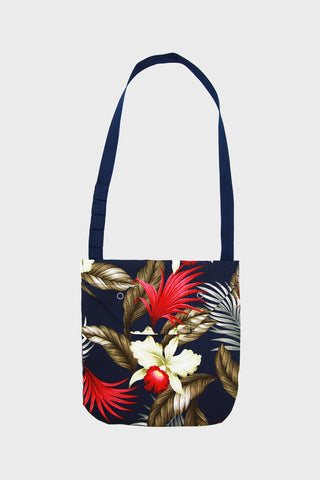 Shoulder Pouch - Navy Hawaiian Floral Java Cloth