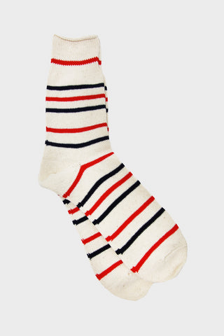 Recycled Cotton Stripe 3Q - Navy/Red Stripe