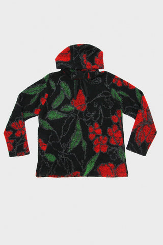 Long Sleeve Hoody - Black/Red Acrylic Wool Floral Knit Jacquard