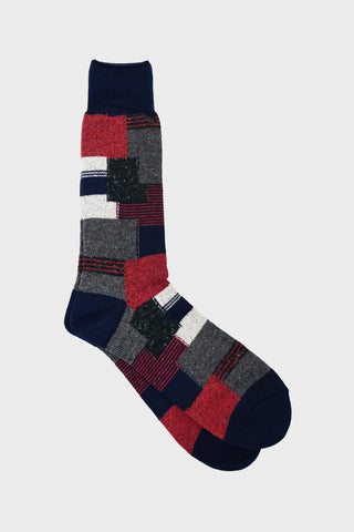 anonymous ism Patchwork Crew socks - Light Navy