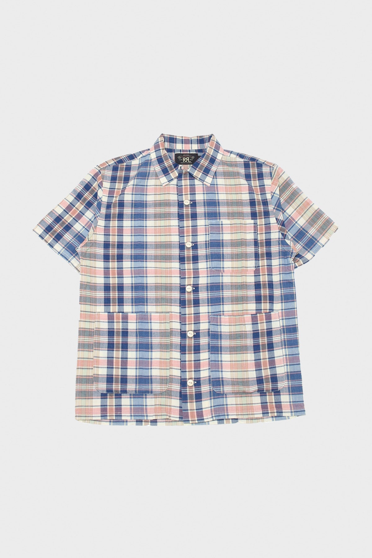 RRL - Indigo Plaid Woven Camp Shirt - Cream/Multi - Canoe Club
