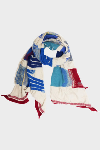 kapital Compressed Wool Scarf BLUE HANDS - White
