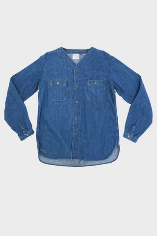 orslow No Collar Denim Shirt - Denim Used
