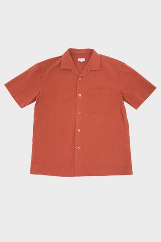 arpenteur Pyjama Shirt - Brick Red Seersucker
