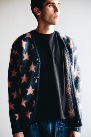 needles clothing japan Mohair Star Cardigan - Blue Grey
