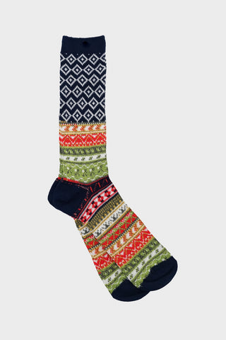 anonymous ism Fairisle Jacquard Crew socks - Dark Navy