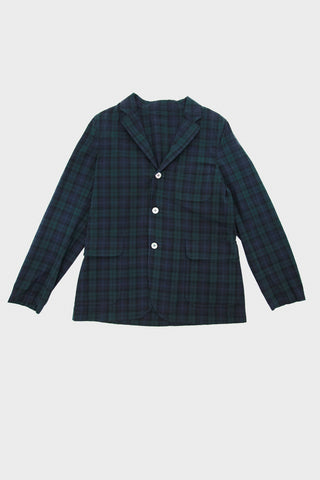 Beams plus 3 Button Shirt Jacket Indigo Yarn - Blackwatch