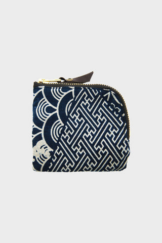 Zipper Wallet - Multi Pattern Indigo