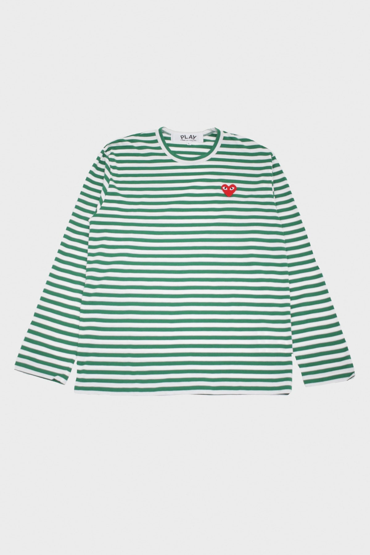 Comme des Garçons PLAY - Red Heart Striped T-Shirt - Green/White - Canoe Club