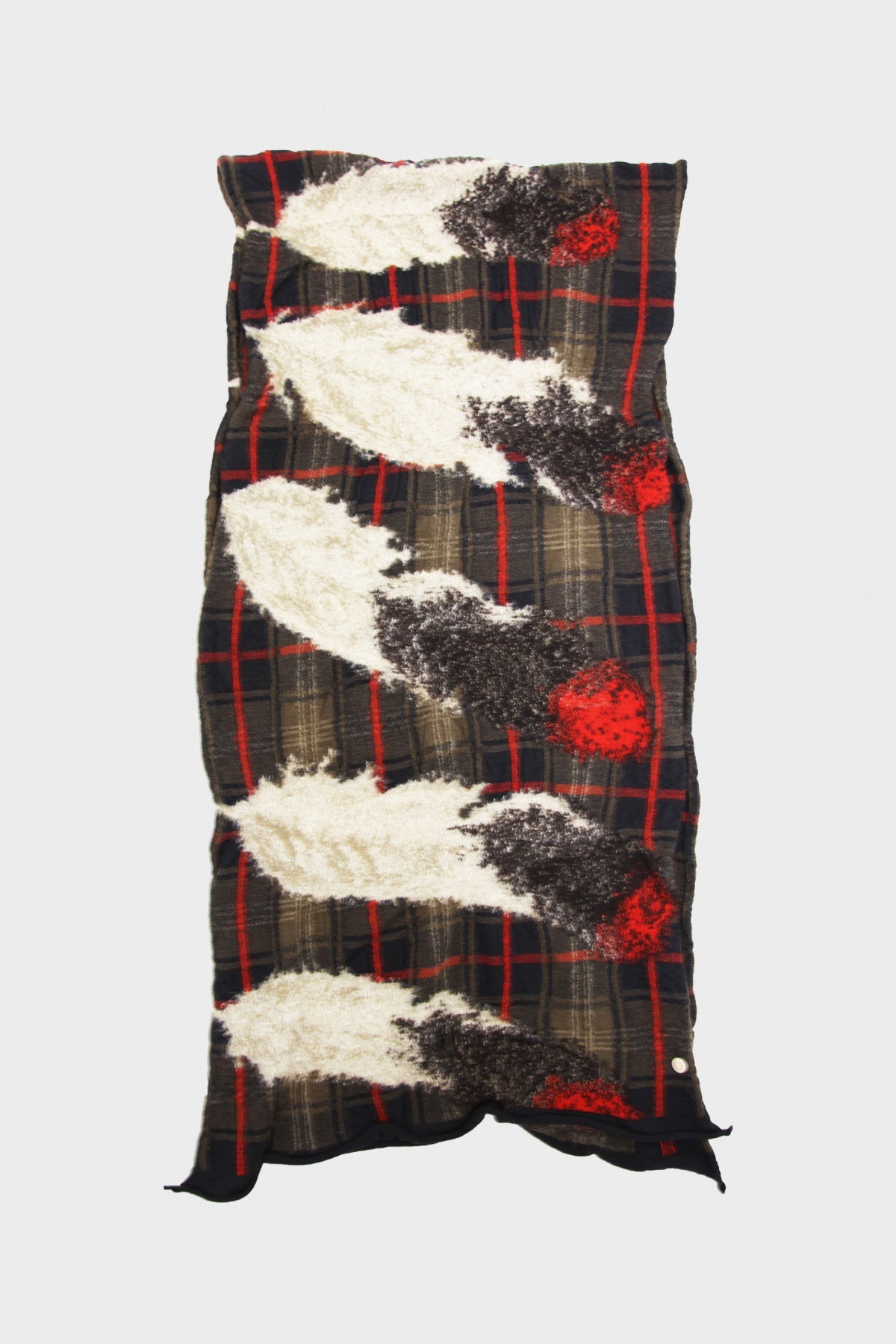 kapital Compressed Wool Scarf - FEATHER TARTAN Black