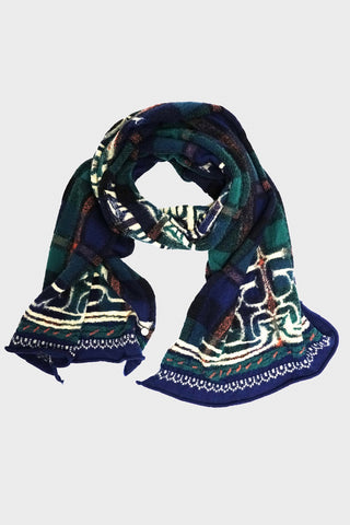 kapital Compressed Wool Scarf TARTAN AINU - Navy