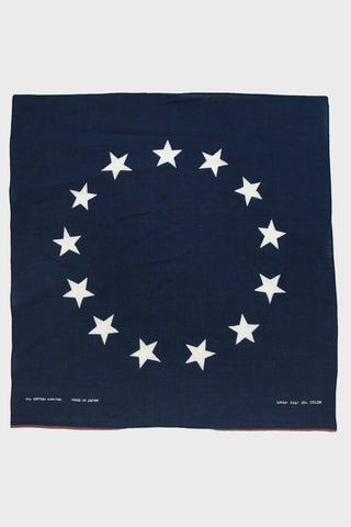 kapital Fastcolor Selvedge Bandana  - Betsey Ross Flag - Navy