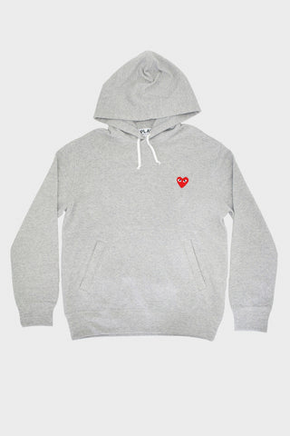 comme des garcons play Red Heart Hooded Sweatshirt- Grey