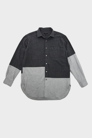 engineered garments Spread Collar Shirt - Dark Grey Brushed Cotton Twill