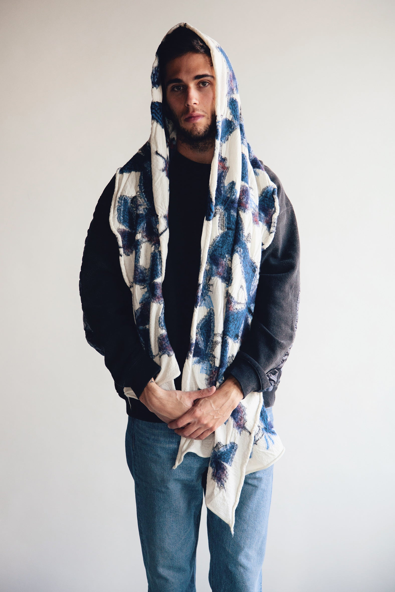 Kapital - Compressed Wool Scarf BUTTERFLY - White - Canoe Club