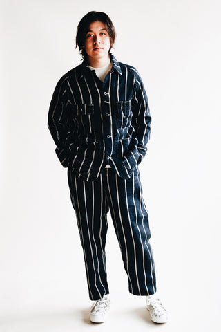 kapital Linen PHILLIES Stripe CACTUS Coverall - Navy