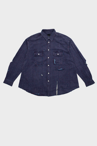 visvim indigo camping trading post find your happiness I.C.T. Grand River Long Sleeve - Crash Indigo