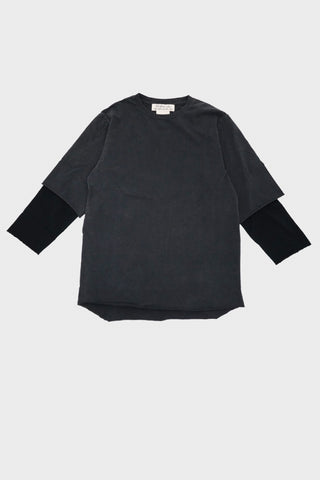 remi relief Jersey Grunge Double Neck Long Sleeve Tee - Black