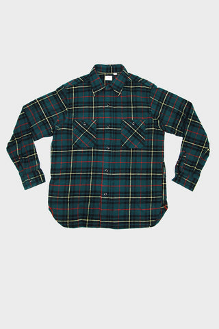 sugar cane and co Twill Check Work Shirt - Green II