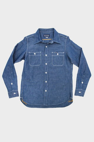 Iron Heart Cotton linen chambray work shirt