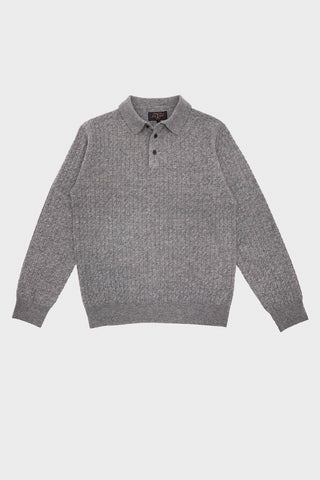 beams plus Cable Knit Polo Shirt - Grey
