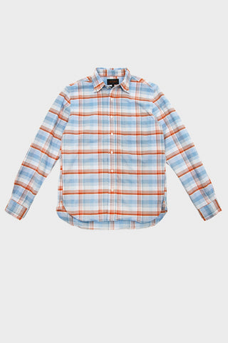 beams plus Button Down Oxford Fade Check - Sax