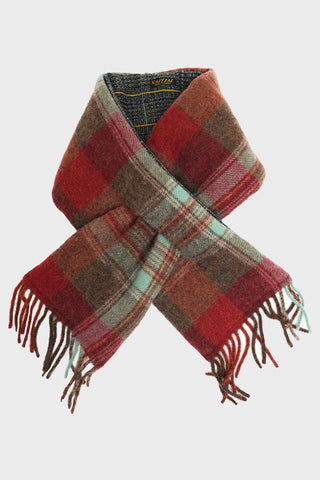 kapital Country Wool Check x Tweed Fleecy Knit KESA Scarf - Grey Khaki