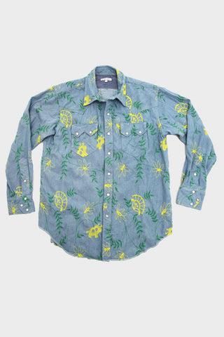 engineered garments Western Shirt - Light Blue Denim Floral Embroidery