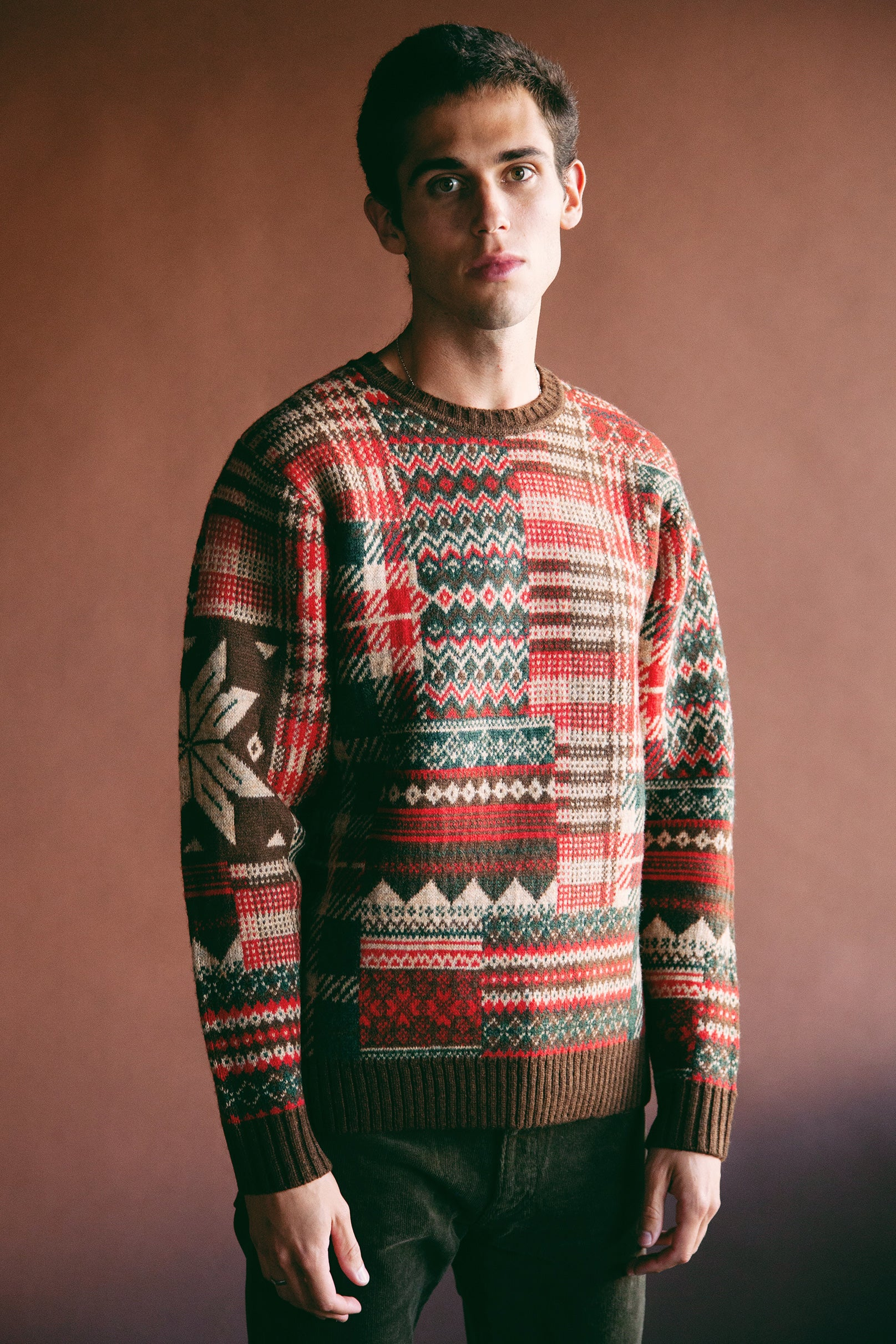 Beams Plus - Patchwork Jacquard Sweater - Brown/Red - Canoe Club