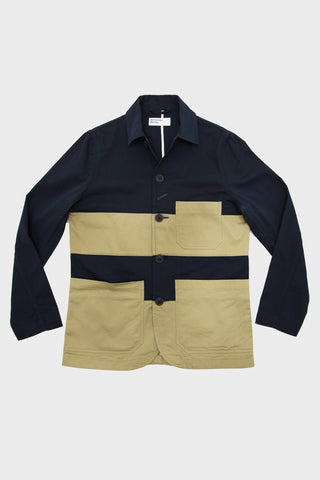 Panel Bakers Jacket - Navy/Sand
