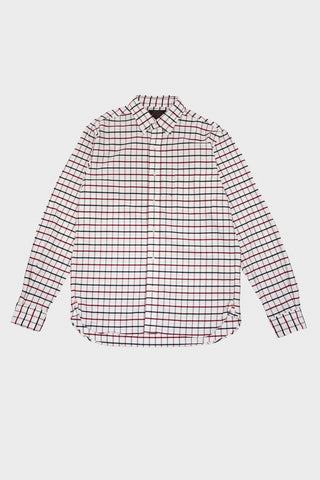 beams plus Tattersall Stretch Oxford Shirt - Red