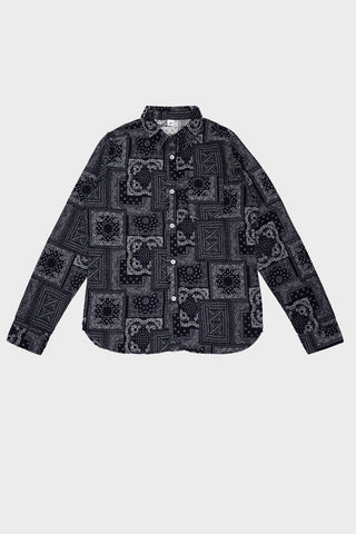 pure blue japan Jacquard Bandana Long Sleeve Shirt - Indigo